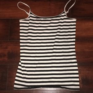 Striped tank top with adjustable straps
